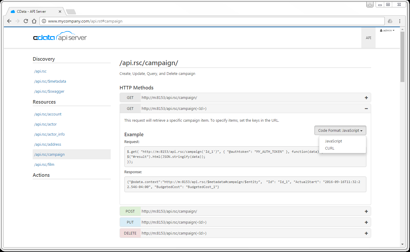 API Server: Build a REST API from your database or Cloud App with a