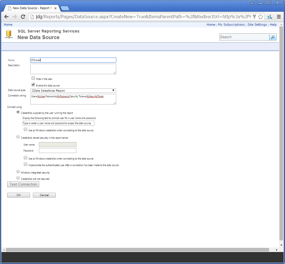 Deploy the ADO NET Provider for NetSuite on an SSRS Report