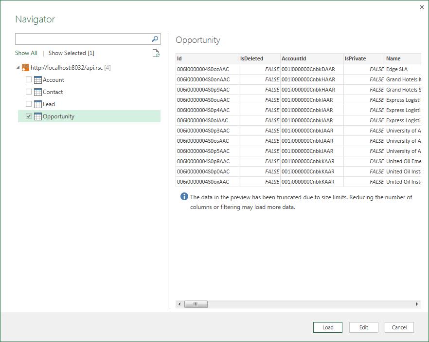 Use the API Server and Sugar CRM ADO NET Provider in Microsoft Power BI