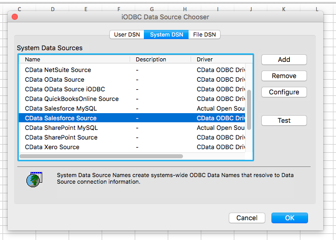Work with OData Services in MS Excel on Mac OS X