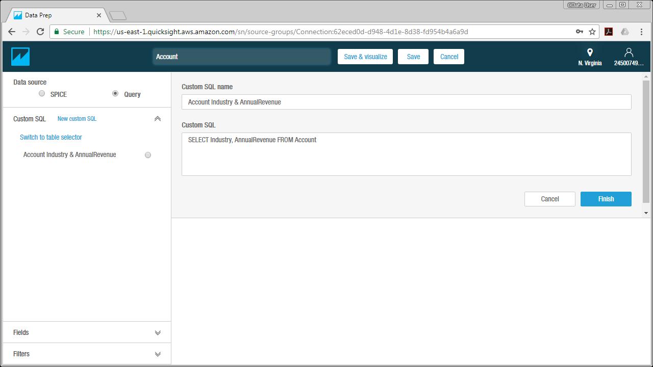 Access Snowflake Data from MySQL in Amazon QuickSight