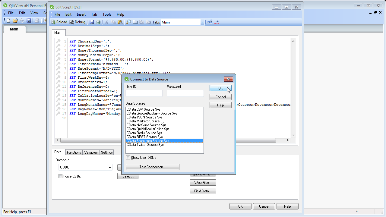 Connect to and Query Magento Data in QlikView over ODBC