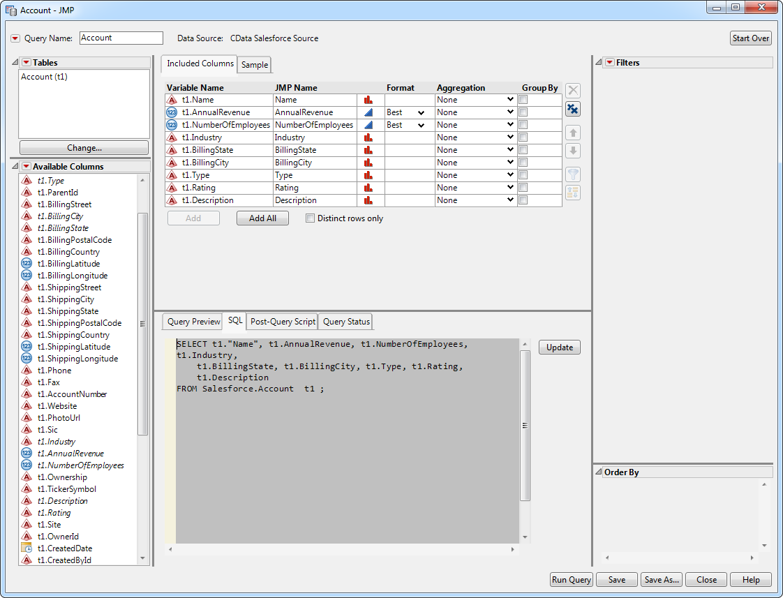 Use the CData ODBC Driver for Snowflake in SAS JMP