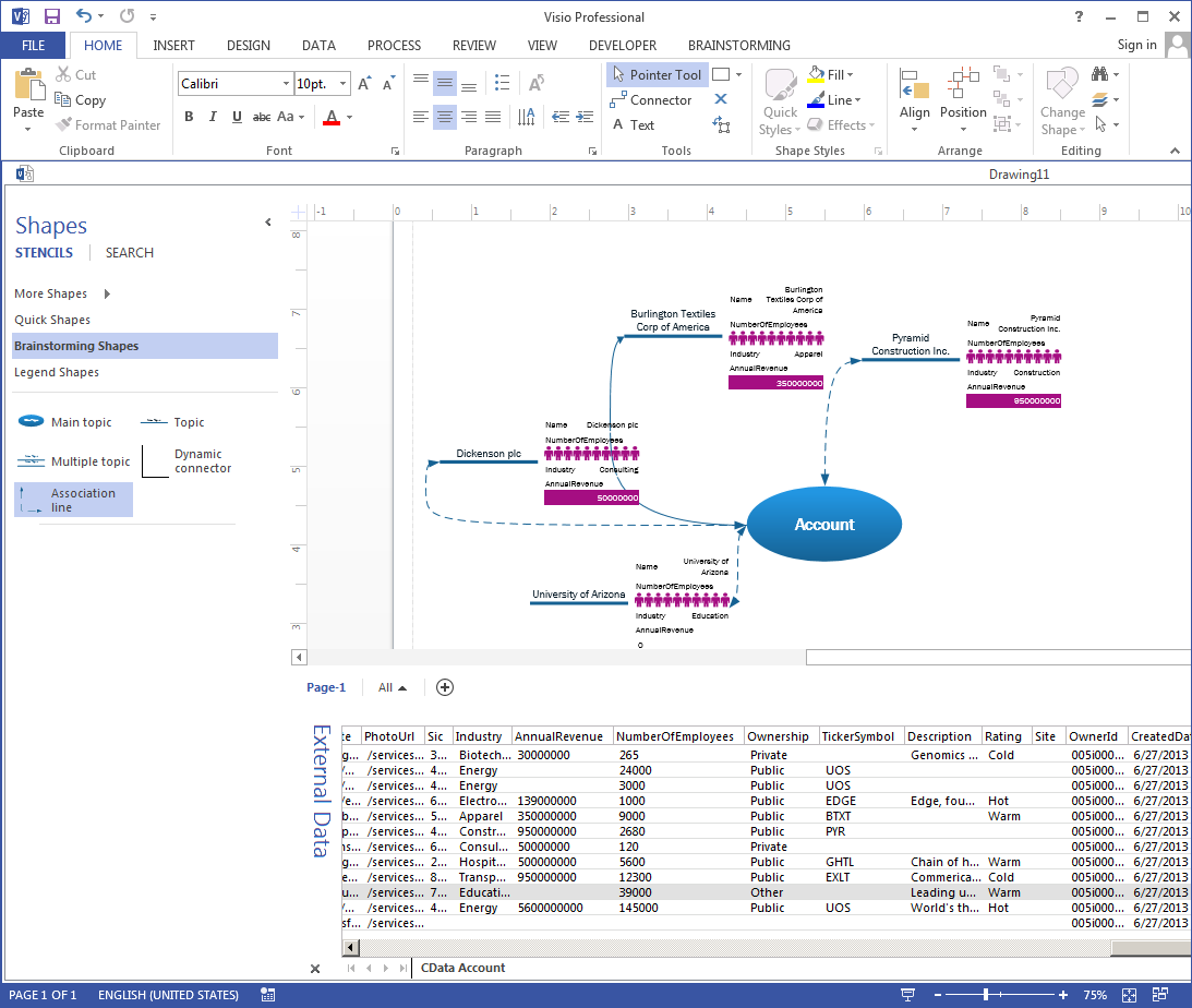 Link Visio Shapes to OData Services