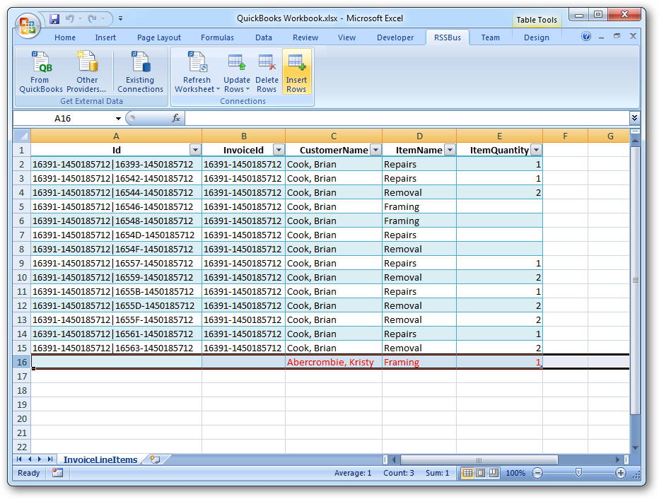 insert invoices with the excel add