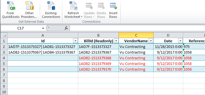 Bill an Invoice with the CData Excel Add-In for QuickBooks